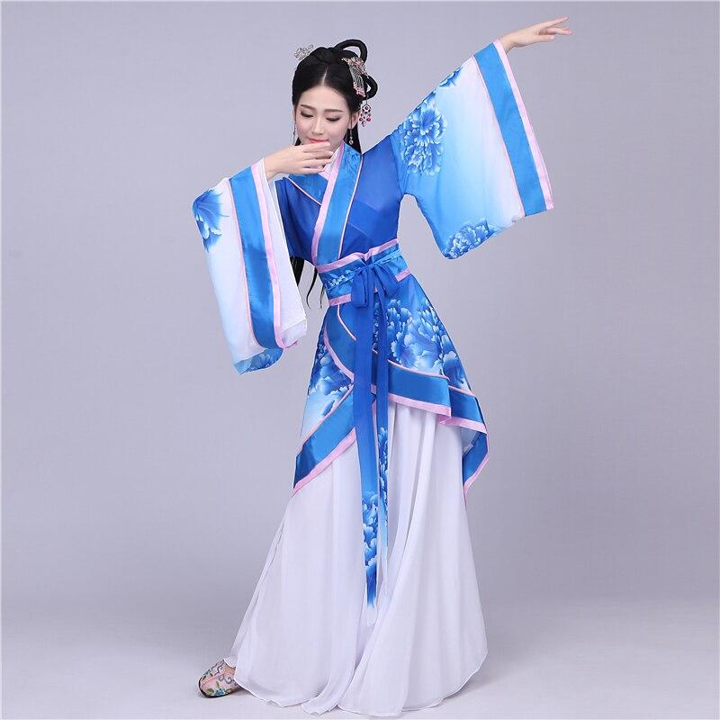 Chinois Costume antique vêtements fée de danse Bleu et Blanc hanfu femelle le chinois ancien costume