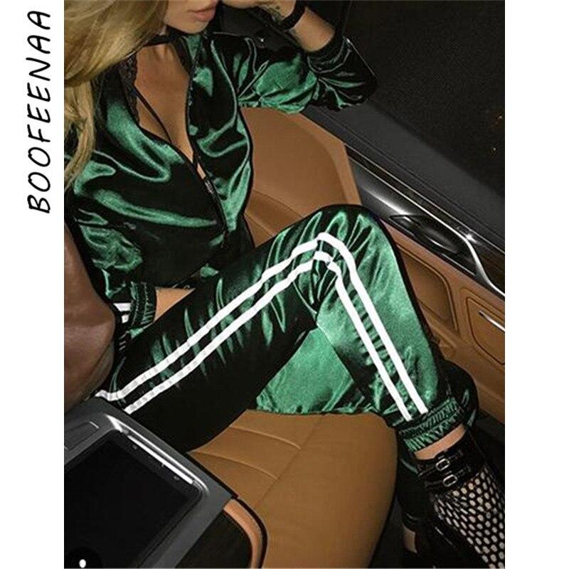 BOOFEENAA Herbst 2019 Casaul Trainingsanzug Frauen 2 Stück Set Top Und Hosen Satin Gestreiften Patchwork Zipper Sexy Sweatshirt Schweiß Anzug