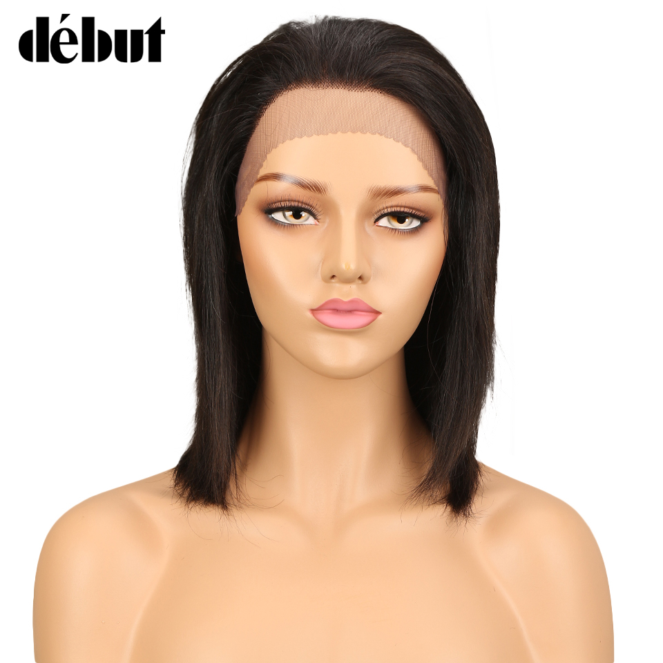 Debut Hair Brazilian Straight Remy Human Hair Wig Lace Front Human Hair Wigs For Black Women 14 Inch U Part Wig Free Shipping
