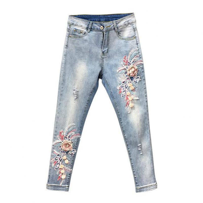 Spring Fall Fashion Women Designer Embroidery Beading Flower Elastic Skinny Pencil Denim Trousers , Jeans Pants With Embroidered