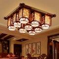 Новый современный светодиодный потолочный светильник в китайском стиле из настоящего дерева для гостиной китайский светильник имитация а...