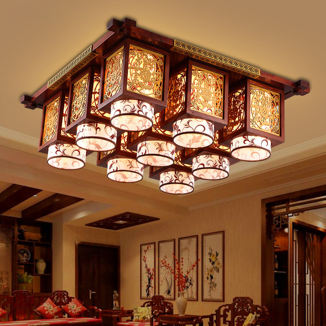 New Modern Chinese Style Led Ceiling Lamp Real Wood Living Room Imitation Antique Dining