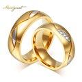 Meaeguet Casal Anéis Para As Mulheres Homens Jóias Cubic Zirconia Anel de Casamento Banhado A Ouro de Aço Inoxidável Feminino