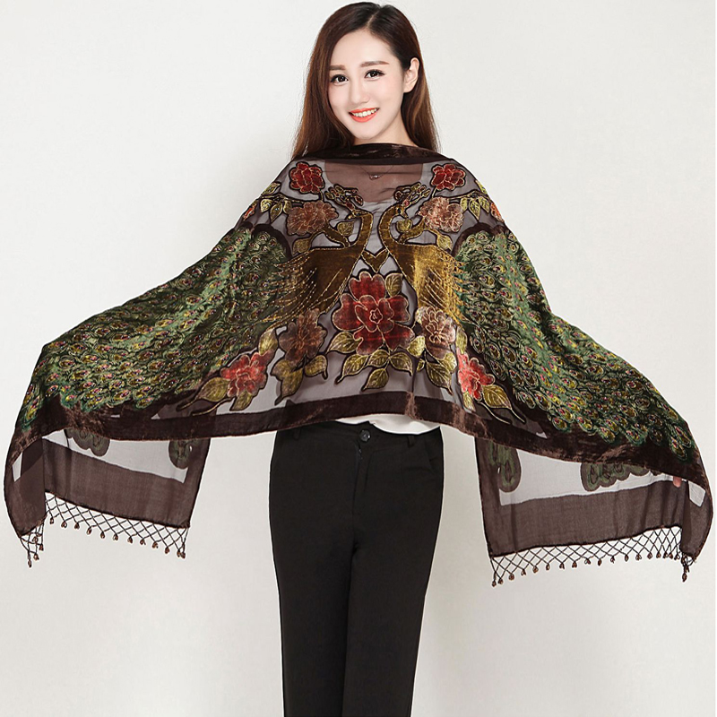 Fashion Scarf Women's Velvet Silk Beaded Sequined Embroider Peacock Scarves Shawl Scarf Wrap Long Fringle Pashmina Stole