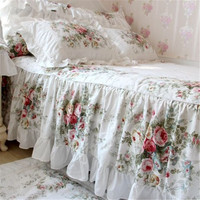FADFAY Home Textile New Vintage Floral Rose Bedding Set Shabby Floral Country Style Bedding Set White Lace Ruffle Beddiing Sets