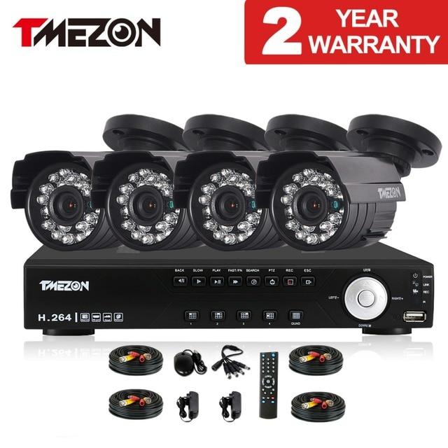 Tmezon 4CH AHD DVR 4pcs 2.0MP 1080P Camera Security Surveillance CCTV System Outdoor Waterproof IR Night Vision 1TB 2TB HD Kit