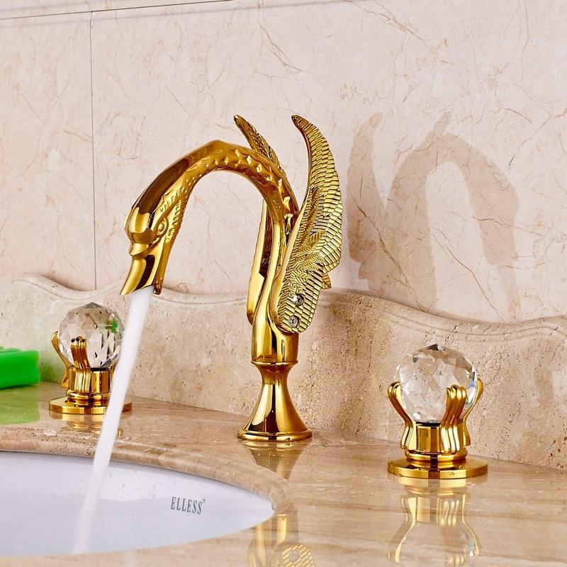 Luxury Brass Gold Polished Basin Faucet Bathroom Vessel