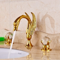 Luxury Brass Gold Polished Basin Faucet Bathroom Vessel Sink Tap Double Crystal Handles Mixer Tap