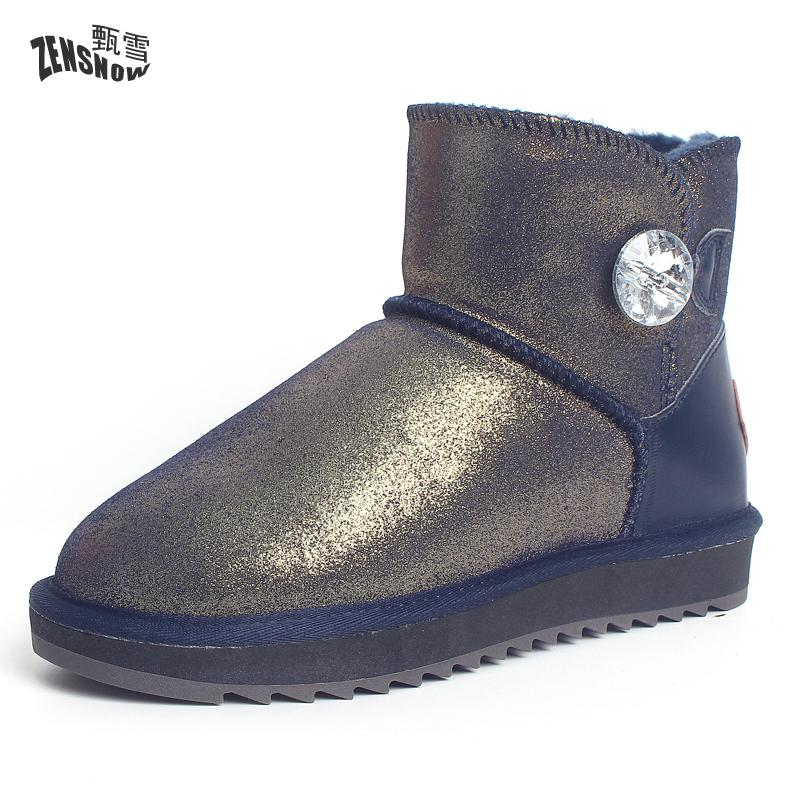 2017 New Winter Boots Leather Boots Fashion Design Really Low Diamond Buttons Waterproof Boots Thickened