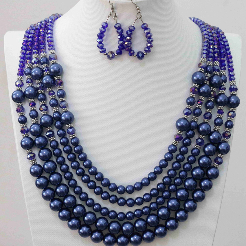 Fashion erarings 5rows necklace for women dark blue glass crystal abacus round shell faux pearl beads design jewelry set B983-7