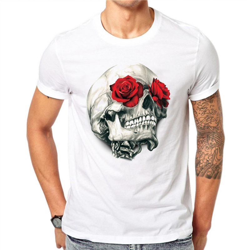 Summer New Men's Fashion Short Sleeve Skull Print   T     Shirt   O Neck Male Funny Tops White Tees Clothing 1268
