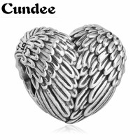 Fits Europe 925 Sterling Silver Angel Wings Feather Heart Charms European Antique Beads For Women DIY Jewelry Making