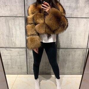 Image 4 - Abrigo de piel de mapache para mujer, abrigo de piel natural de mapache de manga larga