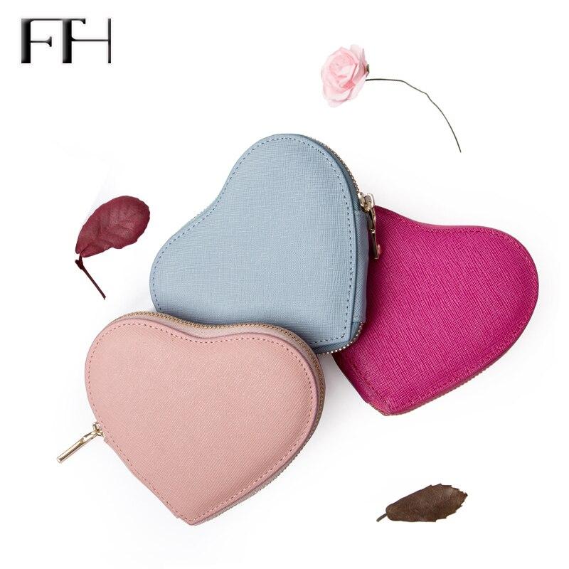 2018 heart-shaped women's sweet Genuine Leather zipper Keys purse coin purses lady mini sexy Key bag housekeeper lovely Key Case