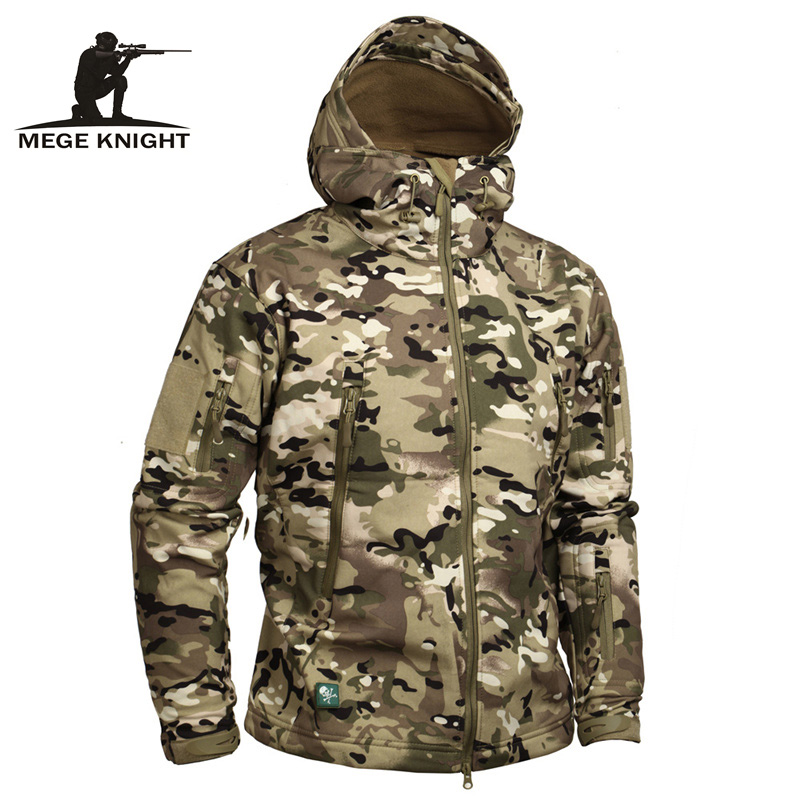 Mege Brand Camouflage Military Men Hooded Jacket Sharkskin Softshell US Army Tactical Coat Multicamo Woodland A