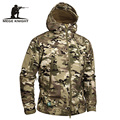 Mege Brand Camouflage Military Men Hooded Jacket, Sharkskin Softshell US Army Tactical Coat, Multicamo, Woodland, A-TACS, AT-FG