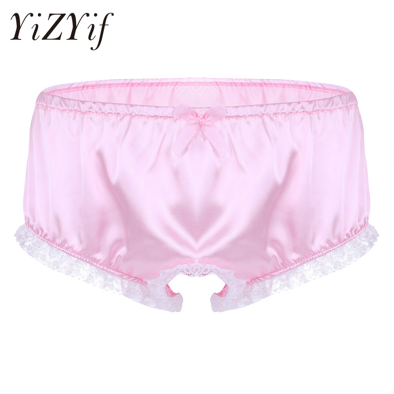35d48dbc07c1 YiZYiF Sexy Men Lingerie Sissy Panties bralette Smooth Shiny Stain Ruffle  Lace Open Crotch French Maid Brief Underwear Jockstrap