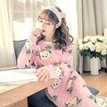 Listagem do novo 2017 Mulheres Sleepwear Feminino Camisola Impressão Camisola de Algodão Plus Size Longo-Sleeved das Mulheres Roupa Em Casa Sleepwear