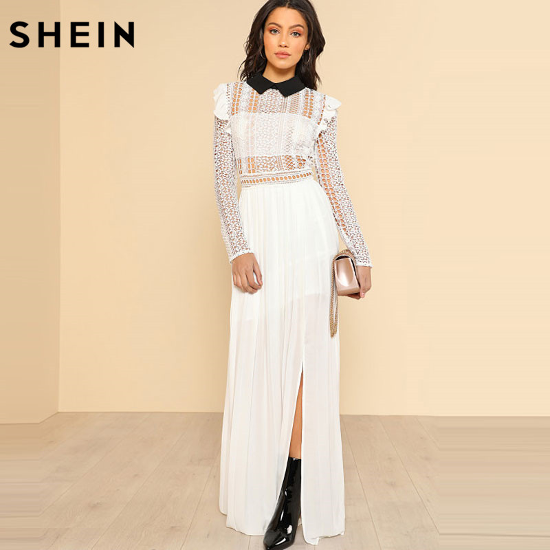 SHEIN White Long Dress Sexy Party Contrast Collar Lace Bodice Pleated Maxi Summer Dress Long Sleeve Ruffle A Line Dress
