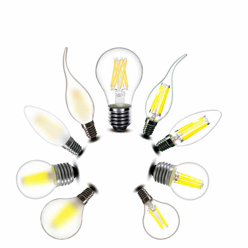 2w 4w 6w 8w E27 E14 Clear LED Bulb A60 G45 C35 B10 220v AC Frosted edison LED Filament flame candles Lamp light 230v AC