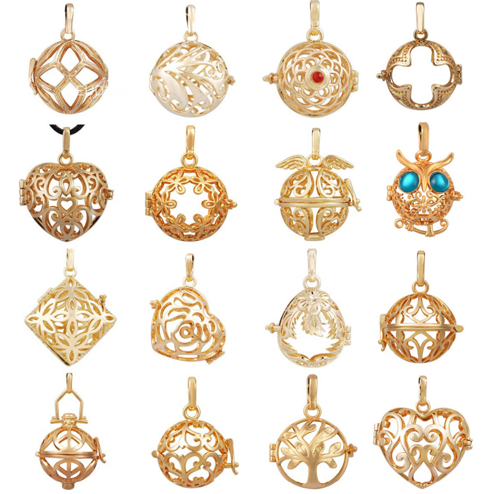 Harmony Bola 20mm 16PCS Mix Style Gold Cage Pendant Necklace Baby Angel Caller Floating Locket Pregnant Pendant Women Jewelry