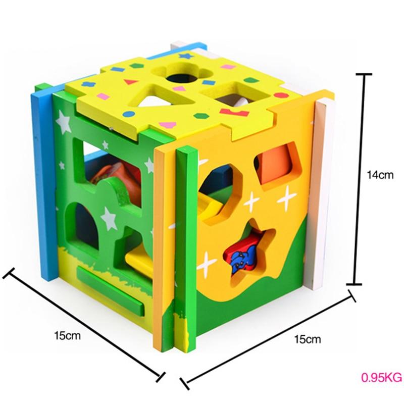 Jouets pour Enfants Enfant En Bois Jouet Cube Géométrique Forme Apprendre Bébé Enfant En Bas Âge Préscolaire Jeu Éducatif Jouet Reconnaissance Match Puzzle - 6