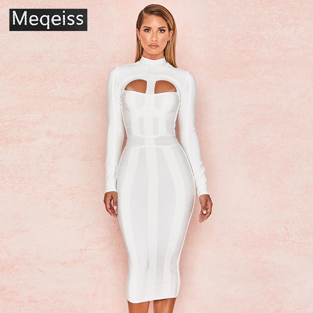 MEQEISS Women Long Sleeve Bandage Dress 2019 New Arrival White Party Bandage Dress Bodycon Sexy Cut Out Banage Dres Knee Length day dress