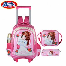 3fed51f370779 JASMINESTAR Çocuk Tekerlekli Çanta 16 inç Okul Çantası 2019 Yeni Marka  Prenses Kız Arabası Schoolbag Su