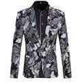 Новый 2016 Корейский Стиль Мужские Цветочные Blazer Куртки Мужчины Цветочный Печати мужская Одежда One Button Slim Fit Пиджак Случайный Мужчина Блейзеры