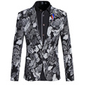 New 2016 Korean Style Mens Floral Blazer Jackets Men Flower Print Mens Clothes One Button Slim Fit Suit Coat Casual Male Blazers