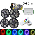 DC12V 5/10/15/20M 60Led/m 5050 RGB double PCB LED Strip set Light tira Tape ribbon lamp+2.4G RF Remote Controller+Power adapter