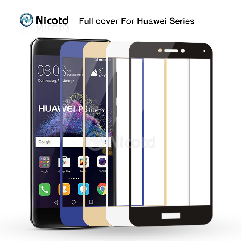 Nicotd 2.5D Premium Full Cover Tempered Glass For Huawei Mate 8 9 Nova Plus P8 Lite 2017 P9 P10 Screen Protector For Honor 8 6x