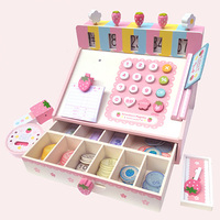 Wooden children's simulation supermarket credit card machine cashier children's play house wooden toys children's birthday gift