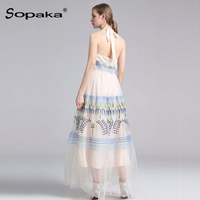 7775676a07 2018 Summer Sleeveless White Mesh Floral Embroidery Party Dress High  Quality Backless Sexy Designer Maxi Women Dress-in Dresses from Women s  Clothing ...