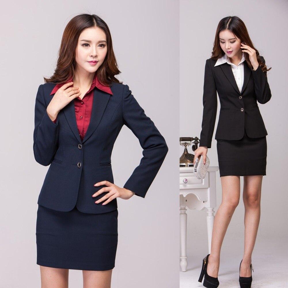 autumn winter formal office uniform designs women suits with skirt