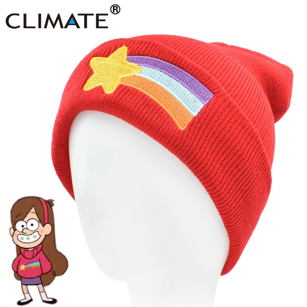 CLIMATE Gravity Falls Mabel Pines Hat Girls Women Winter Red   Beanie   Mabel Dipper Warm Knitted Hat Red Star Anmation Nice Red Hat