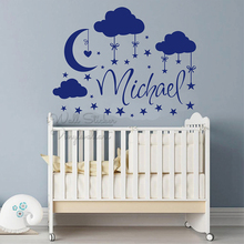 Name Wall Sticker Custom Clouds Stars Decal Baby Nursery Removable Personalized DIY Wallpaper C66