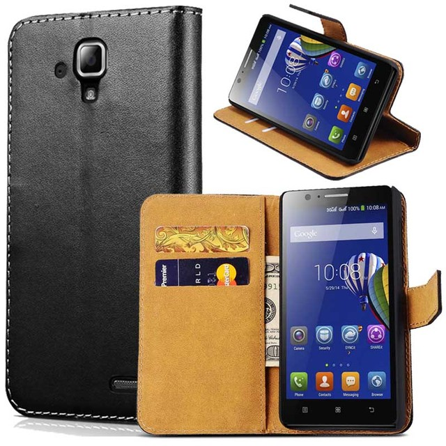Case For Lenovo A536 Black Luxury Durable Wallet Genuine