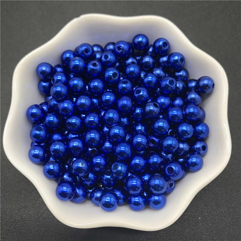 4mm 6mm 8mm 10mm Blue Imitation Pearls Acrylic Beads Round Pearl Spacer Loose Beads For Jewelry Making