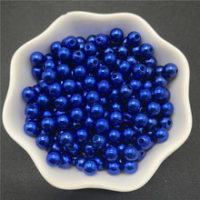 4mm 6mm 8mm 10mm Blue Imitation Pearls Acrylic Beads Round Pearl Spacer Loose Beads For Jewelry Making(China)