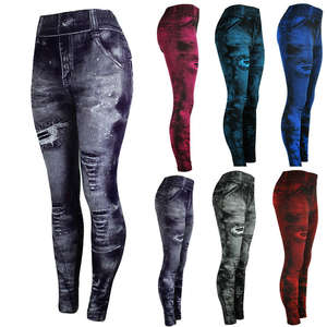 Pants Jeans Tight Super-Bomb Bottom Elasticity Slim Coloured Hip-Up Nine-Minute Mujer