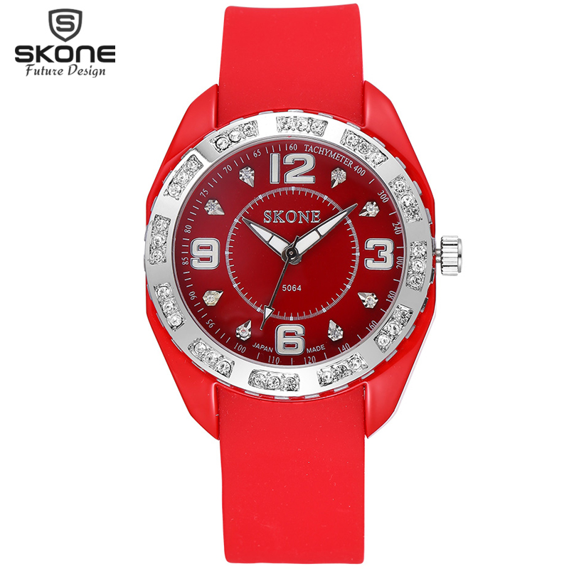 SKONE 8 Colors Luminous Hand Rhinestone Fashion Watches Women Casual Silicone Strap Watch Lady Sports Wristwatch Girls 2016 SALE