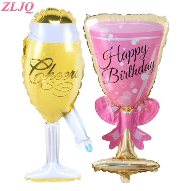 zljq 1pc large champagne and wine glass cup happy birthday foil balloons baby globos decoration ball - Happy Birthday Wine Glass