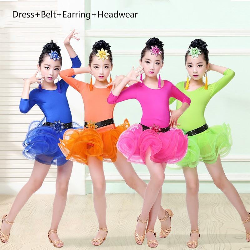 Child Latin Dance Dress Girls Ballroon Dance Wear for Competition Kids Long Sleeve Sequin Tango /Salsa / Latin Dance Costumes 89