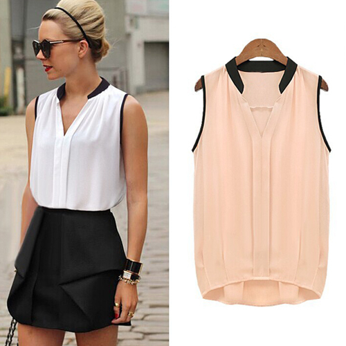 exclusive 2015 new summer woman blouses sexy sleeveless chiffon plus size ladies blouses casual. Black Bedroom Furniture Sets. Home Design Ideas