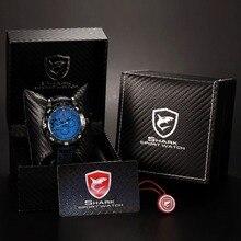 Paquet Cadeau de luxe Shark Sport Montre 6 Mains Auto Date bleu Cadran Relogio Bracelet En Cuir Noir Hommes Quartz Montres/SH155 + ZC156