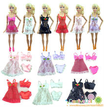 6Sets=18pcs Free Shipping Sexy Doll Lingerie Dress Suits bikini For Barbie Dolls Dress+Bra+Underwear Lace Nightwear Pajamas(China)