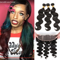 Halo Lady Hair 3 or 4 Bundles Brazilian Body Wave Virgin Hair Weaves With Lace Frontal Closure (13x4) 7A Unprocessed Human Hair