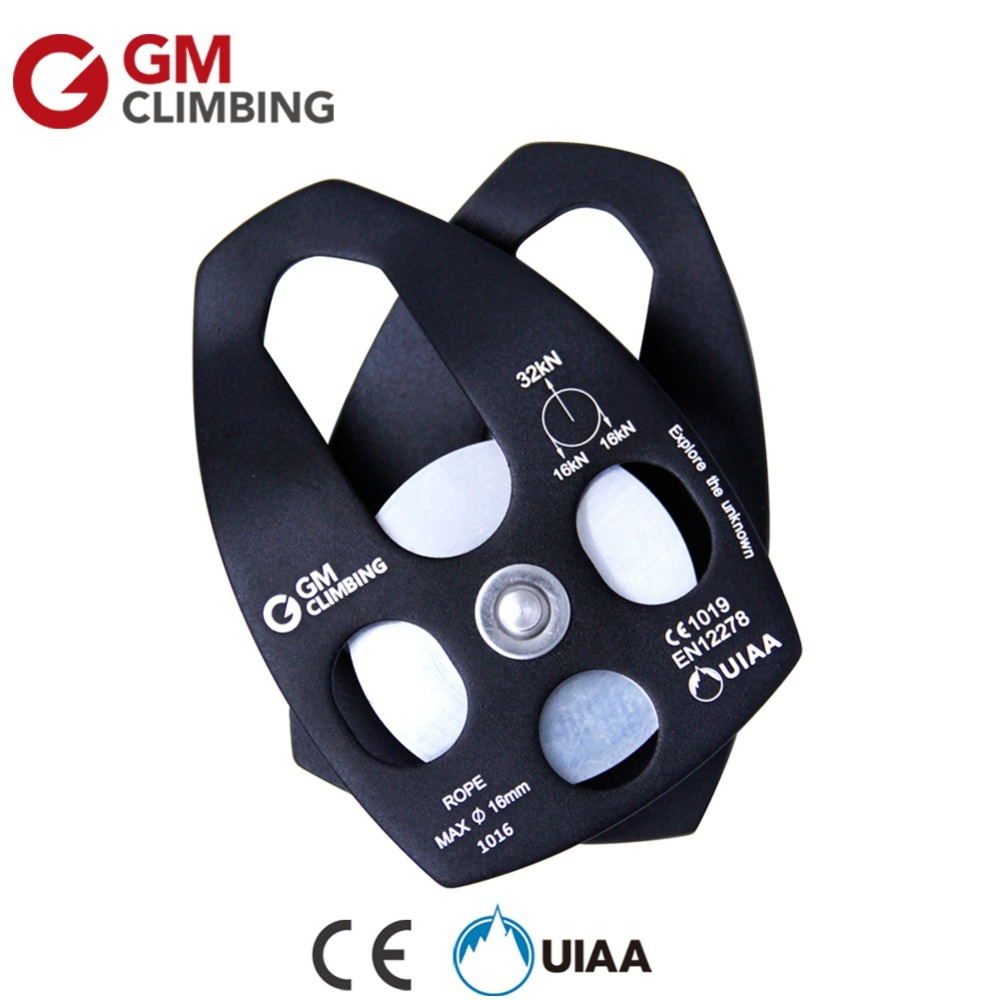 GM Climbing Pulley 32kN Rescue Rope Pulley CE / UIAA Arborist Rigging Rock Climing Rescue Survival Equipment s5211 2rs stainless steel double row angular contact ball bearings s3211 2rs size 55x100x33 3mm