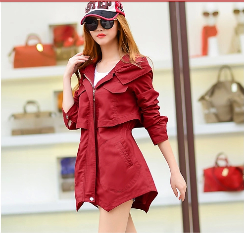 2016 women coat autumn spring fashion casual hooded windbreaker female overcoat long women   trench   coat novel style WE762